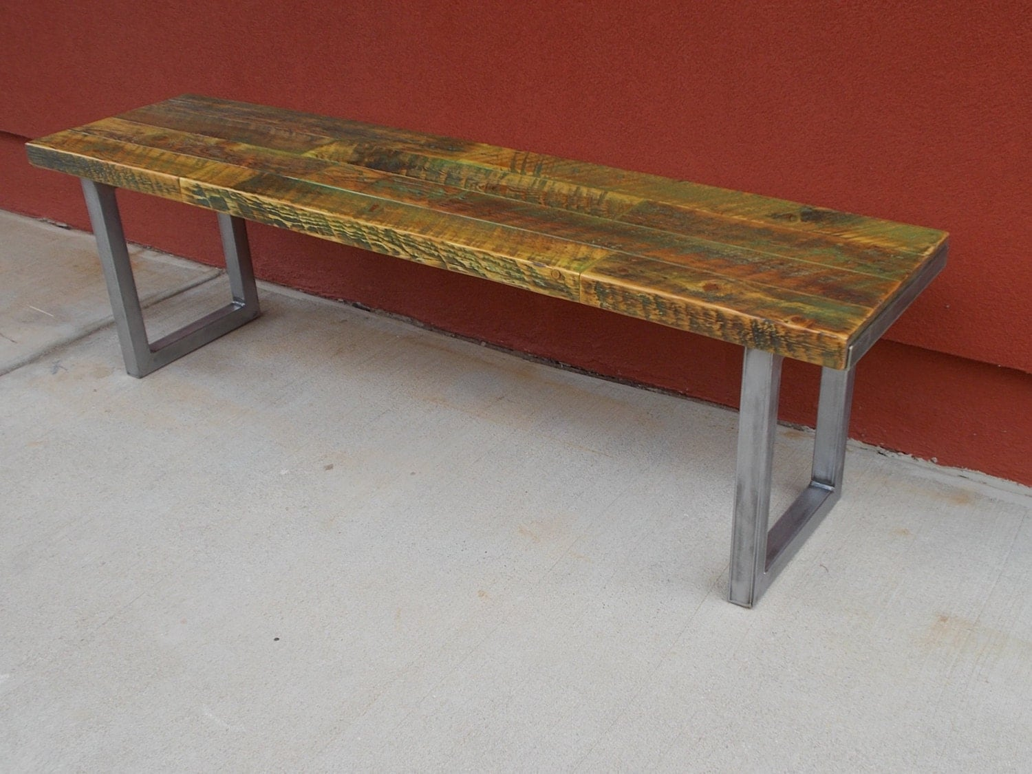 Bench Wood Bench Reclaimed Wood Bench Rustic Bench Steel