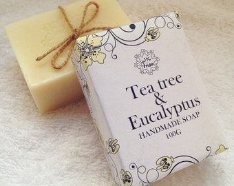 Tea Tree Rosemary and Eucalyptus-All Natural Soap, Handmade Soap, Fragrance Free Soap, Vegan Soap,Cold Process Soap,facial soap,Shower soap