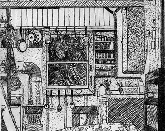 Interior Scene   - Original Etching & Engraving, Hand-printed, Limited Edition, Tiny House, Etching, Engraving, Country Home, Cabin, Cat