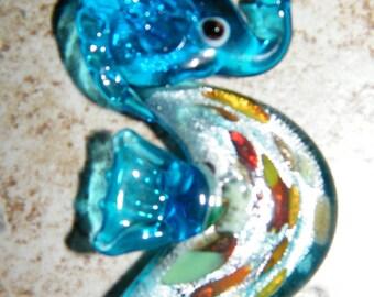 Glass pendant, sea horse pendant, Lampworked glass Sea Horse Blue pendant