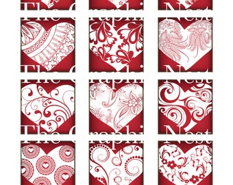 2x2 inch valentine squares. Digital download.