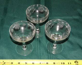 Set of 3 Vintage Clear Crystal Cut Footed Sherbet/Champagne Etched Glasses