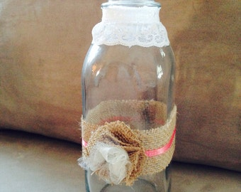Decorated old fashioned milk bottle