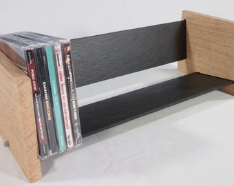 Oak Slate Design CD Rack - Modern Contemporary Style