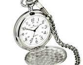 Personalised Silver Colour Pocket Watch with Chain and Pouch - Engraved Free with your Message