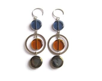Drop Earrings with Sterling Silver Earwires, Multicolor