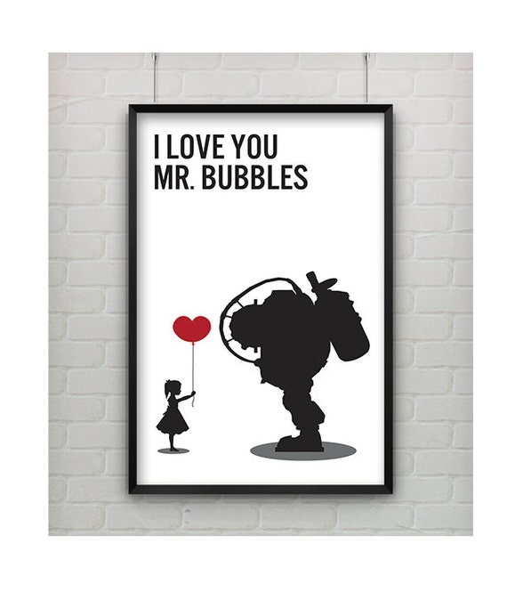 BioShock 'I Love You Mr. Bubbles' Minimalist Print, Minimalist Bioshock Video Game Print