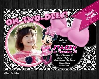 Minnie Mouse Invitation for Minnie Birthday - Digital Invite for Minnie party - choose preferred Background pattern