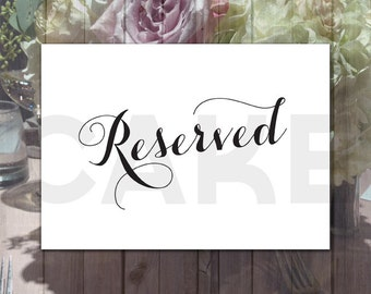 5 by 7 Printable Reserved Sign, Wedding Reserved Sign, Wedding Printables, Reserved sign, Calligraphy wedding signs, Printable Wedding Signs