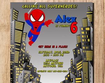 Spyderman Inspired Super Hero Birthday Party Invitation - DIY Invitation