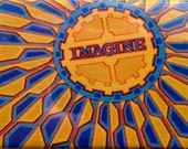 """bright, fun, colorful, whimsical, spiritual magnet of an original acrylic painting: """"Imagine Memorial, NYC"""""""