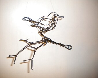 Songbird--3-D steel wire sculpture