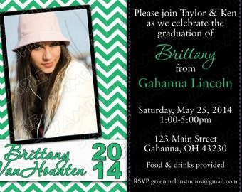 Graduation chevron announcement invitation ANY COLOR printable invitations UPrint customized card by greenmelonstudios
