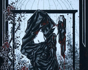 Gothic robed woman with red roses and bird cage inked watercolor comic dark FANTASY ART PRINT wall decor