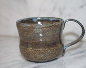 Brown Mug with Blue Speckles ceramic brown coffee cup tea cup