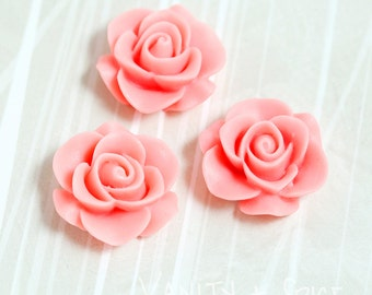 3 - Pink Rose Flower Resin Cabochon, Flower Cabochons, 21mm