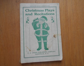 Christmas Plays and Recitations 1923 Vintage book Instructor Entertainment Series F.A. Owen Publishing Co Dansville NY
