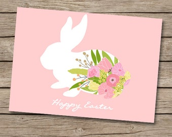5x7 Easter card print, DIY Easter card, Easter bunny printable Easter decor, pink Easter wall art, floral bunny art - INSTANT DOWNLOAD