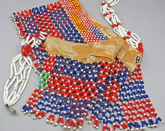 Vintage African Beadwork Belt Cache Sexe Apron African Waist Beads Blue Red Glass Beads Ethnic Jewelry African Tribal Arts