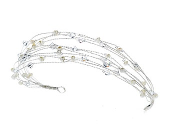 Metal Wired Headband with Freshwater Pearls, Swarovski Crystal Beads, & Glass Beads