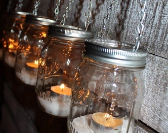 FREE SHIP 6 Hanging Outdoor Garden Light Mason Jar Lantern Luminaries, DIY Flower Vase Hangers or Candle Jar Silver Chain Lids