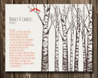 "Personalized 1Corinthians 13 Love is Patient Bible Verse, Forest Birch trees, Heart , initials, Gift for Wedding Anniversary  11""x14"""