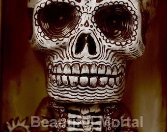 Beautiful Mortal Dia De Los Muertos Skeleton Artist PRINT 366 by Michael Brown