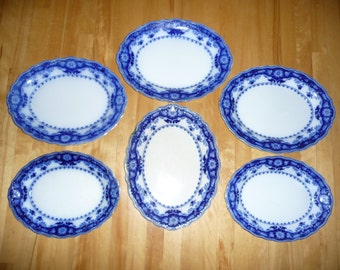 Antique Porcelain ''Flow Blue'' Service Platters – ''Crumlin'' – circa 1900-05