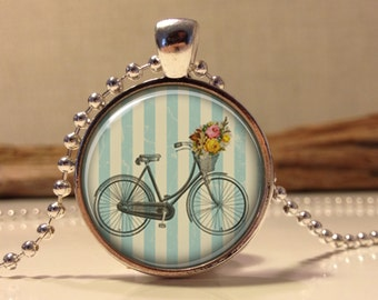 Shabby chic Bicycle. Blue necklace.  Bicycle art pendant jewelry