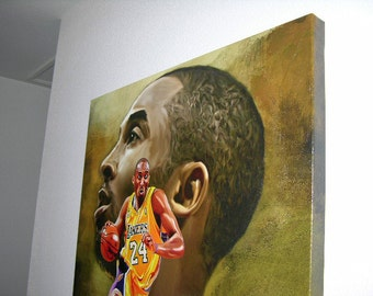 """Beautiful Kobe Bryant Lakers Giclee and Acrylic Canvas Art W Gallery Wrap Ready To Hang Up To Size 44X36X1.5"""""""