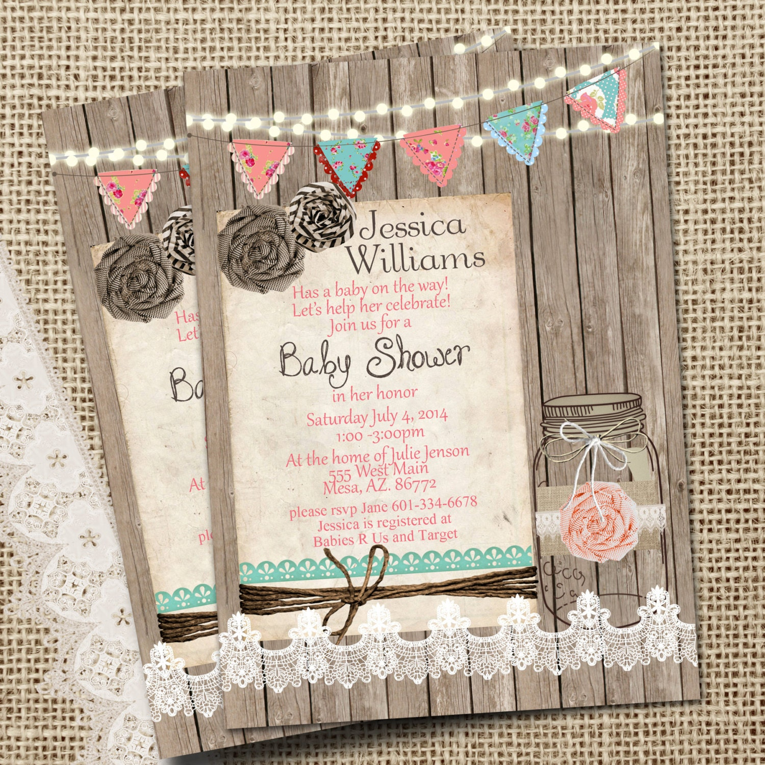 Rustic Mason Jar Burlap and Lace Baby Shower Invitation