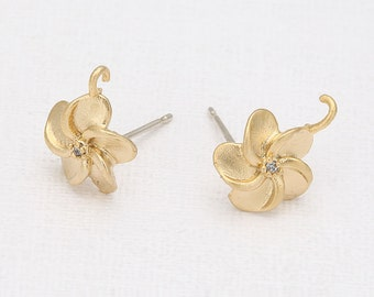 Cubic Flower Post Earring Matte Gold- Plated - 2 Pieces <E0115-MG>