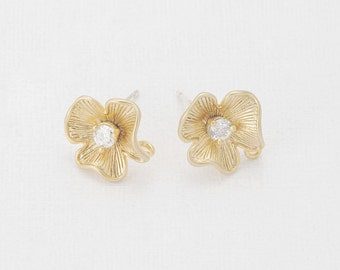 Cubic Flower Post Earring Matte Gold- Plated - 2 Pieces [E0024-MG]