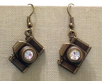 Antiqued Brass Rhinestone Camera Earrings, Photographer Jewelry, Pierced Dangle Earrings