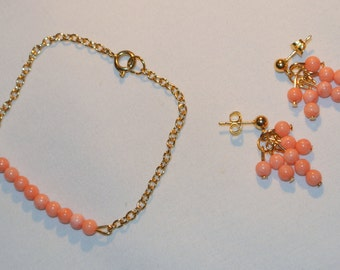 SALE NOW 15% OFF Coral and Gold Bracelet and Earring Set