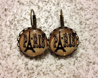 Paris Eiffel Tower Cabochon 18 mm Earrings - Pendants.