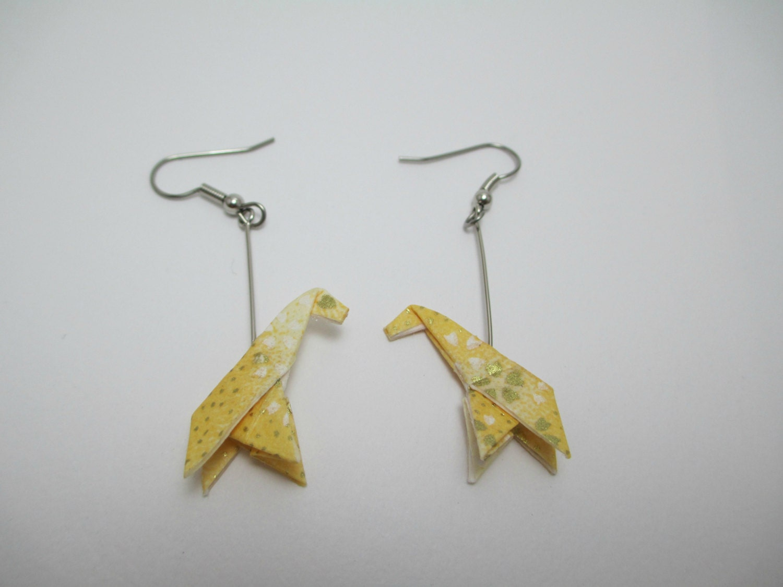 Origami Giraffe / Paper Earrings / Yellow jewelry / Japanese - photo#5
