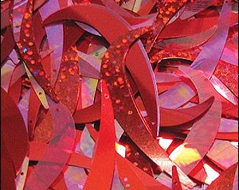 Flame Red mix tusk sequins. 55mm. JR02345