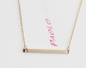 Gold or Rhodium Plated, Simple Bar Connector Pendant Charm, Color is Your Choice, Necklace