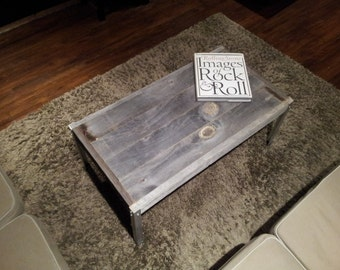 The Horizontal with Aluminium  Legs - Unfinished Old Barn Wood Coffee Table