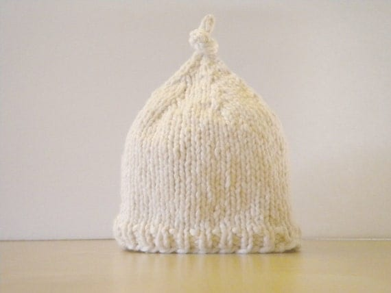 Knitting Pattern Umbilical Cord Hat : Organic Hand Knit Umbilical Cord Hat Size Newborn Almond