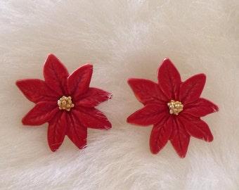 Christmas Poinsettia Pierced Earrings.