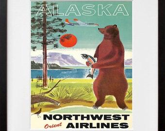Alaska Travel Art Vintage Alaskan Poster Print (TR126)