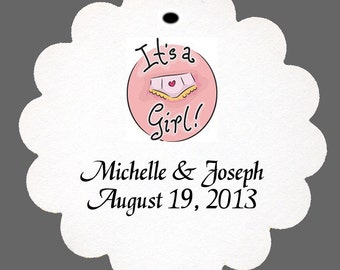 "24 Personalized ""It's a Girl"" Favor Scalloped Tags Baby Shower Party"