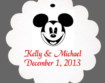 24 Personalized Classic Mickey Mouse Scalloped Tags Party Favors
