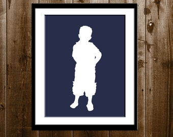 Kids Custom Silhouette Portrait from your Photo, Boy or Girl Silhouette Wall Art, Mother's Day Gift Silhouette Print, Children Silhouette