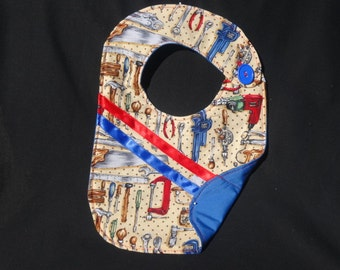Toddler Boy Bib /Tool Time 4 / 10 x 14 / boy/ tools / blue / red/ black / brown / hammer / saw/ wrench