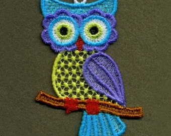 FSL Cute Baby Owls Machine Embroidery Design Free Standing Lace Instant Download 4x4 hoop