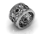 925 Sterling Silver  Antique Vintage Style Black Spinel Engagement Anniversary Eternity  Ring
