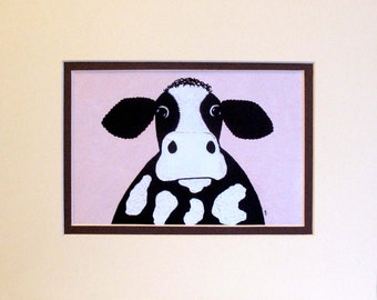 "8"" x 10"" Cow print ""Barry"" quirky farm animal, cow print from my acrylic on canvas original painting"